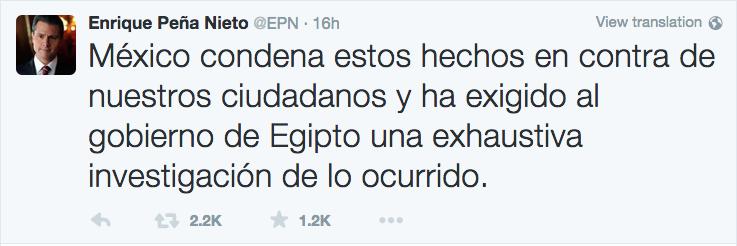 Tuit del presidente Enrique Peña Nieto