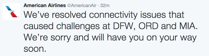 Tuit de American Airlines