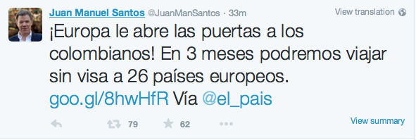 Tuit del presidente colombiano Juan Manuel Santos
