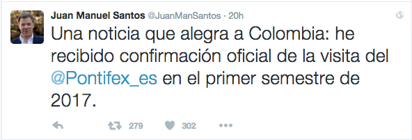 Tuit del Presidente Juan Manuel Santos