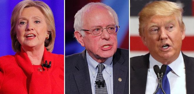 Former Secretary of State Hillary Clinton (from left) and independent U.S. Sen. Bernie Sanders of Vermont are nearly deadlocked among Wisconsin Democratic voters, while businessman Donald Trump leads among Republicans.