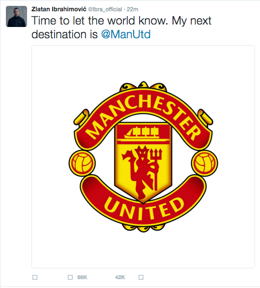 Zlatan Ibrahimovic via Twitter