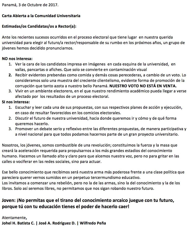 Carta abierta a la UTP